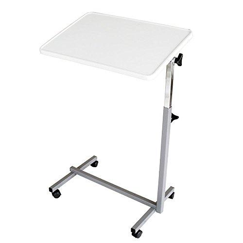 Tavolino pieghevole a rotelle, Per letto o divano, Resistente, Multiuso, colore Grigio perla
