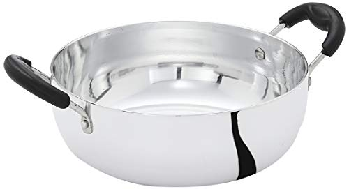 Amazon Brand - Solimo White Aluminium Kadhai (22cm, Induction and Gas compatible), Silver