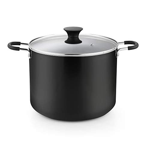 Cook N Home Cookware Nonstick Stockpot with Lid, 10.5 quarts, Black