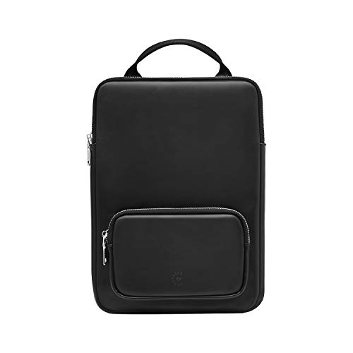 Comfyable Laptop Sleeve Case with Handle and Charger Pocket - PU Leather Computer Carry Bag Compatible with 13 Inch MacBook Air 2020 and 13 Inch MacBook Pro 2016-2020 - Black Laptop Briefcase