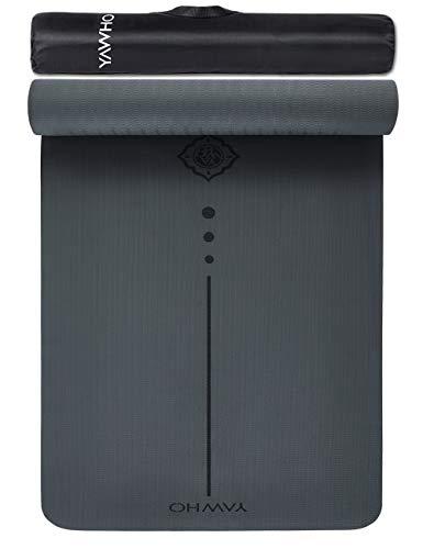 Yogamatten Fitnessmatten Maße: 183 cm X 66 cm Höhe 0.6 cm,hochwertige TPE ist Rutschfest ECO Freundlichen Material Das SGS Zertifiziert Design Hilfslinien, licht, umweltfreundlich, langlebig (Grey)