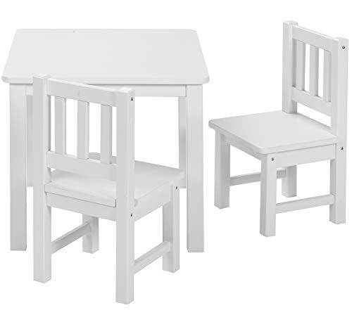 BOMI Kindertisch mit 2 Stühlen Amy   abgerundete Ecken und Kanten   aus Kiefer Massiv   Holz sitzgruppe kind   für Kleinkinder, Mädchen und Jungen Weiß