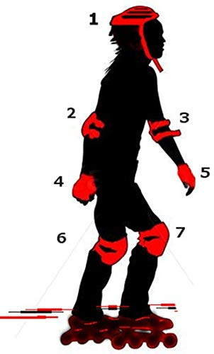 UNYBUY Protective Skating and Cycling Guard Kit (Red, 6-16 Years) - Set of 7 Pieces