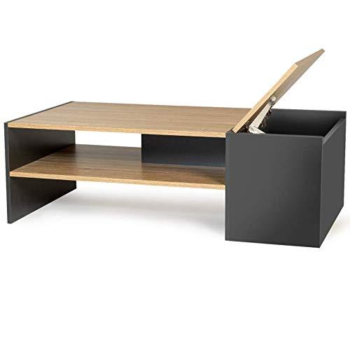 IDMarket - Table Basse Bar contemporaine IZIA avec Coffre Bois et Gris