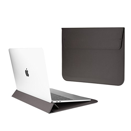 TOP CASE - Synthetic Leather Ultra Slim Sleeve Case for 13' Slim Laptop/MacBook Pro 13' Retina (2012-2015) / MacBook Pro 13' (2016/2017) / MacBook Air 13' / iPad Pro / 13' Ultra Book (Gray)