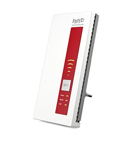 Avm Fritz! Repeater 1750E International, Ripetitore/Estensore Segnale Wifi, Compatibile con Modem Fibra e Adsl, Access Point, Bridge, 1 Lan Gigabit, Bianco/Rosso