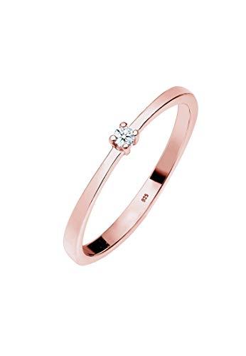 Diamore Anillo de compromiso solitario de mujer con plata, diamante - Tamaño 12