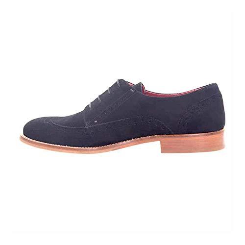 Beatnik Shoes Zapatos de Cordones Estilo Oxford Blucher Negros de Mujer en Ante Beatnik Ethel Black Suede. Talla 36