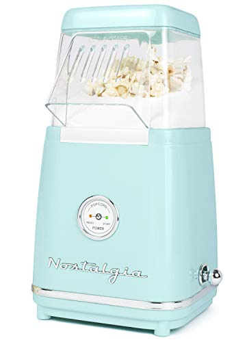 Nostalgia CLHAP12AQ Classic Retro Healthy Hot-Air Tabletop Popcorn Maker, Makes 12 Cups, with Kernel Measuring Scoop, Oil Free, Perfect for Birthday Parties, Movie Nights, Aqua