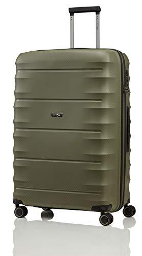 TITAN 4-Rad Koffer L groß mit TSA Schloss, Gepäck Serie HIGHLIGHT: Leichte Hartschalen Trolleys im Carbon Look, 842404-86, 75 cm, 107 Liter, khaki (grün)