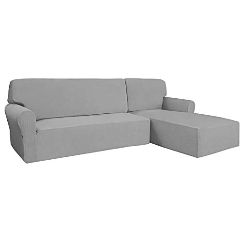 Easy-Going Stretch Sofa Slipcover 2 Pieces L-Shaped Sofa Cover Sectional Couch Cover for Living Room Jacquard Fabric Chaise Lounge Slipcover with Elastic Bottom for Dogs Kids Pets (Small Light Gray)