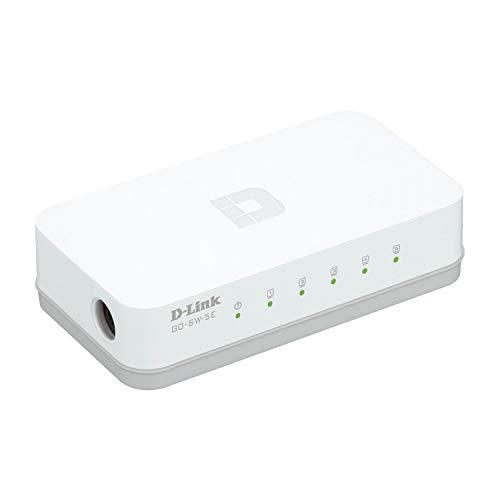 D-Link GO-SW-5E Switch Desktop, 5 Porte RJ45 Fast Ethernet 10/100Mbps, Plug & Play, Plastica