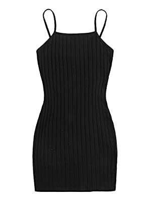 Stretchy and soft fabric to wear, you will like this cami dress at your first sight Sleeveless, above knee length bodycon dress with spaghetti strap, plain color Highlights: backless and sleeveless design make you full of female charming. Slim fit dr...