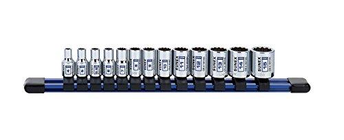13Piece 1/4' Drive Chrome Socket Rail 12Pt Metric Standard