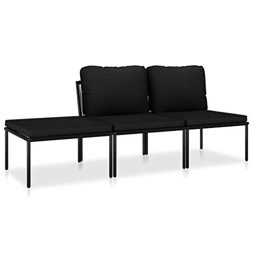 vidaXL Gartenmöbel 3-TLG. mit Auflagen Sitzgruppe Garten Garnitur Lounge Sofa Sitzgarnitur Gartenset Gartensofa Mittelsofa Fußhocker Schwarz PVC