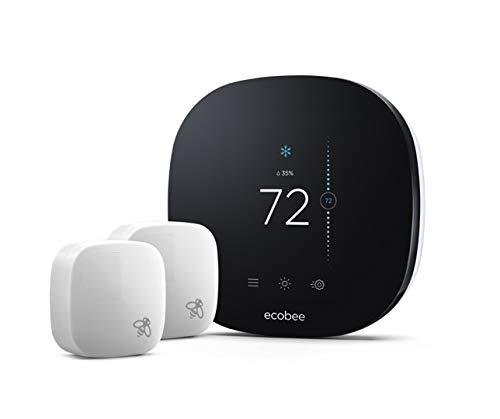ecobee3 Lite Smart Thermostat with 2 Room Sensors,Black