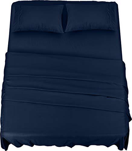 Utopia Bedding - Completo Lenzuola Letto - Spazzolata Microfibra - Lenzuola e Federe (Blu Navy, King)