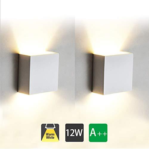 12W Led Wandleuchten Innen Modern, 2 Stücke Wandbeleuchtung 3000K Warmweiß Aluminium Led Wandlampe für Wohnzimmer, Schlafzimmer, Badezimmer, Flur, Balkon, Treppen