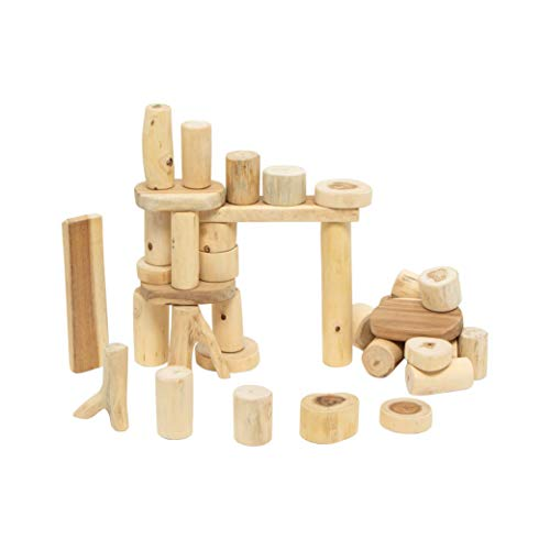 Constructive Playthings TEB-35 Tree Blocks, Set of 36 Hand-Cut Wood Pieces, Various Shapes and Shades, STEM Approved