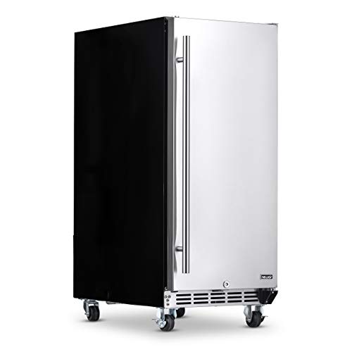 """NewAir 15"""" Built-in 90 Can NOF090SS00 Outdoor Beverage Fridge in Weatherproof Stainless Steel with Auto-Closing Door and Easy Glide Casters"""