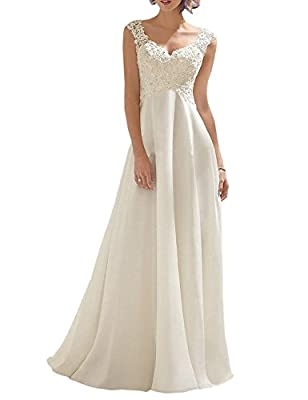 Color: Ivory Fabric: Lace Appliques, Chiffon Feature: A-Line Style, Appliqued with sequin and beading, Double V Neck, Floor length, Sleeveless We are a professional wedding dress manufacturing and selling company who has 12 years experience If you ne...