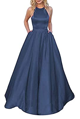 Women's Halter A line Satin Prom Dresses Long with Pockets Black Formal Ball Gown 2020 Feature:Backless satin a line formal prom dresses for women with pockets,halter prom dresses long gowns with belt beaded,sleeveless, corset open back/backless,empi...