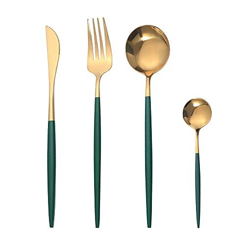 OUQIWEN Set di posate,8 pezzi set di posate in acciaio inossidabile verde e oro,set di posate in oro verde,Compreso forchetta / cucchiaio / coltello / cucchiaino,Per 2 persone(Oro verde)