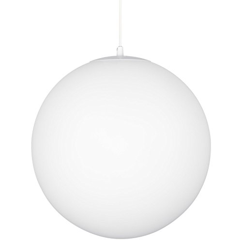 Kira Home Ceres 10' Mid-Century Modern Hanging Orb Pendant Light with Smooth Matte White Frosted Diffuser, White...