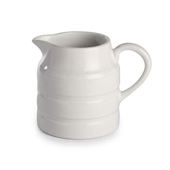 White Milk Churn Jug | Dolomite Ceramic | Perfect For Serving Milk & Cream | Gravy & Custard | Juice & Water | 1 Pint | M&W