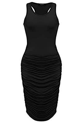 MATERIAL: Polyester and Spandex,Super Soft Micro Fabric, a good amount of stretch, breathable, skin-touch, makes you feeling well FEATURE:Mid-Calf,pleated design,bodycon slim fit.O-neck long sleeve/sleeveless stretch slim fit ruched design dress. STY...