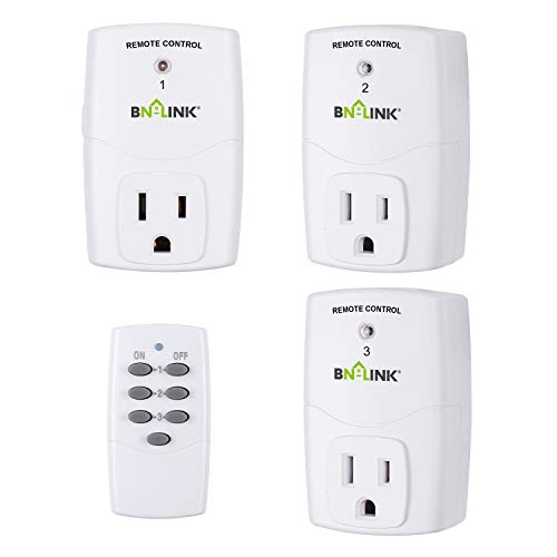 BN-LINK Mini Wireless Remote Control Outlet Switch Power Plug In for Household Appliances, Wireless Remote Light Switch, LED Light Bulbs, White (1 Remote + 3 Outlet) 1200W/10A