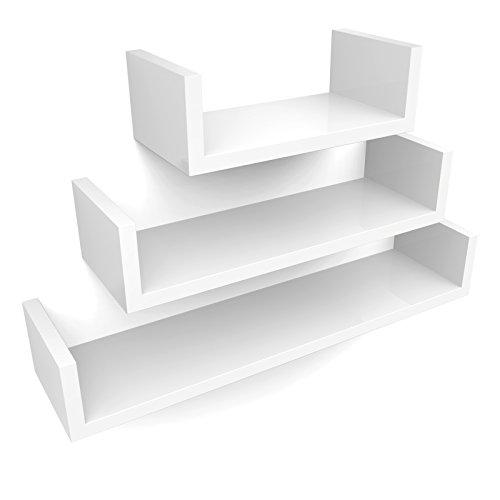 SONGMICS Wandregale, 3er Set, Schweberegale, 30/45/60 cm, dekorativ, kreativ, für Schlafzimmer, Wohnzimmer, Küche und Flur, bis 15 kg belastbar, weiß LWS66W