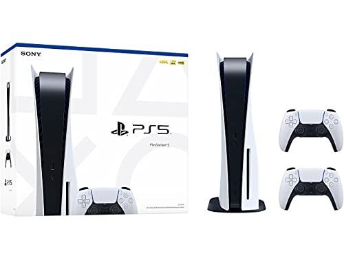 PlayStation 5 Konsole Standard Edition, 825GB SSD, 4K/8K, HDR (Laufwerk) mit 2x Dualsense Kontrollers