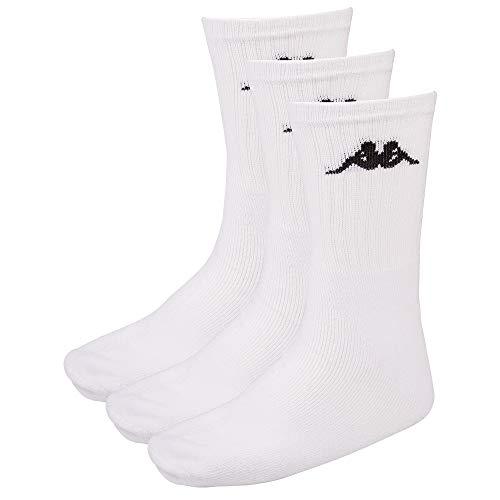Kappa SONOTU 3 Calzini sportivi unisex, confezione da 3, look retr, Unisex - Adulto, Calzini, 704304, 001 bianco, 35-38