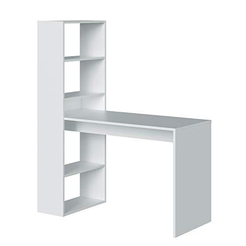 Habitdesign 008314A-Scrivania con mensola, Bianco, Legno Compensato, 144x120x52 cm