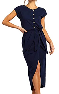 Material: Cotton & Polyester. 100% brand new and high quality! Soft, Breathable, Lightweight, Stretchy, Comfy to wear. Style: Midi/Maxi Dress, Ankle Length, Loose Fit, Casual, Scoop Neck, Short Sleeves, Decorative Button, High Low, Front Split,Irregu...