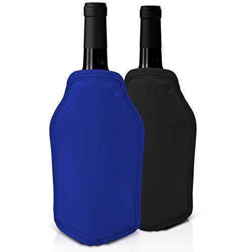Set di 2 Refrigeratori per vino - Nero e blu - Perfetto per bottiglie di vino e di Champagne -...
