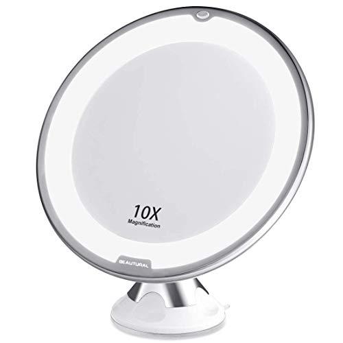 BEAUTURAL Kosmetikspiegel 10-Fach Vergrößerung LED Beleuchtet Schminkspiegel 360 ° Schwenkbar mit Integriertem Saugnapf Rasierspiegel Wandspiegel vergrößerungsspiegel Batteriebetrieben