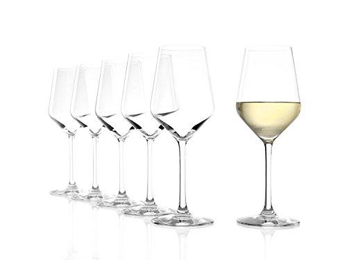 STÖLZLE LAUSITZ Bicchieri da vino bianco Revolution 365ml I Set di 6 bicchieri da vino bianco I Cristallo pregiato I Calici infrangibili e lavabili in lavastoviglie I Altissima qualità