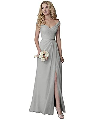 FEATURES: Elegant A Line ruched chiffon bridesmaid dress off the shoulder v-neck formal dress , lace up back floor length split long bridesmaid dress with matching sash, A Line silhouette, with a bra inside, fully lined, boned. Elegant, lovely and un...