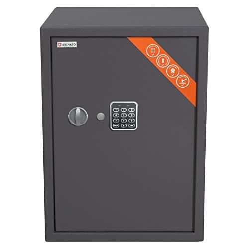 Brihard Business Tresor Safe mit Elektronischem Schloss, 53x39x38cm (HxWxD), Titan Grau