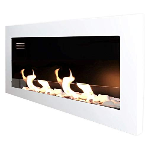 Mierzwa Gel Fireplace Ethanol Fireplace Model TCP Including Safety Glass Burner Cans Decorative Stone Set and Stainless Steel Flame Extinguisher, White