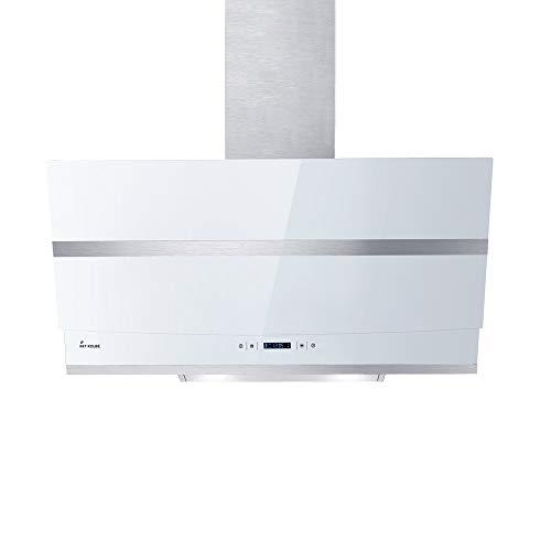 KKT KOLBE Cappa aspirante da cucina / 80 cm/acciaio inox/vetro bianco/WIFI/extra silenzioso / 4 passi/illuminazione LED RGBW/tasti sensore TouchSelect / HERMES807WM