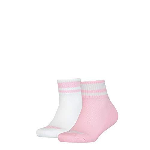 PUMA Junior Clyde Quarter Socks (2 Pack) Calzini, Pink/White, 31-34 Unisex-Bambini