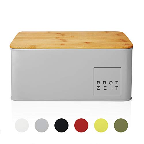 Lumaland Cuisine Brotkasten Brotdose Brotbox aus Metall mit Bambus Deckel, Brotbehälter rechteckig, 30,5 x 23,5 x 14 cm Hellgrau