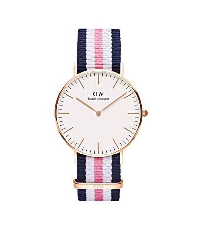 Daniel Wellington Classic Southampton, Blau-rosa-weiß/Roségold Uhr, 36mm, NATO, für Damen und Herren