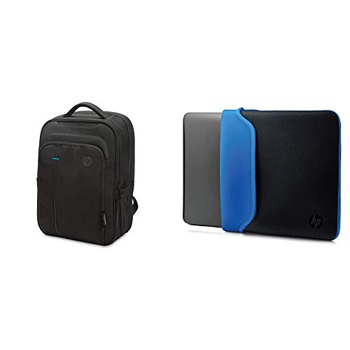 HP - PC SMB Zaino per Portatili fino a 15.6' & Custodia Sleeve Reversibile in Neoprene per Notebook fino a 15.6', Nero/Blu