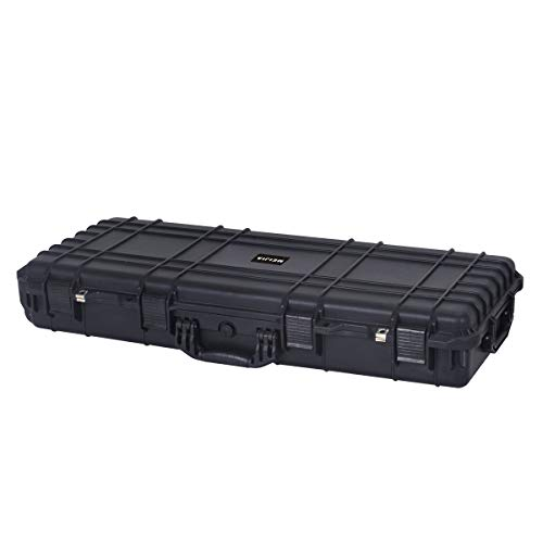 MEIJIA Portable Rolling Waterproof All Weather Rifle Hard Case with Wheels,Foam Inserted, Elegant Black,38.34x17.87x6.22inches