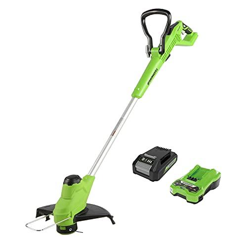 Greenworks Tools Decespugliatore a Batteria G24LT28, Ioni di Litio 24V, Larghezza di Taglio 28cm, Testina a Filo Automatica 6800U/min,Impugnatura Girevole,Asta Separabile con Batteria 2Ah e Caricatore