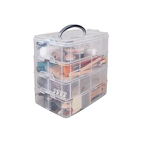 Image 2 - Rayher Boite de Rangement avec Poignée de Transport Boite de Rangement à 17 Compartiments, 23,1 x 15,6 x 18,5cm, Transparent